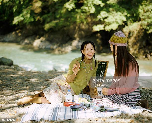 Two Friends Enjoying a Picnic Together, in a Park by a River