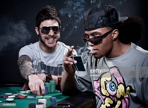 Two friends playing poker.
