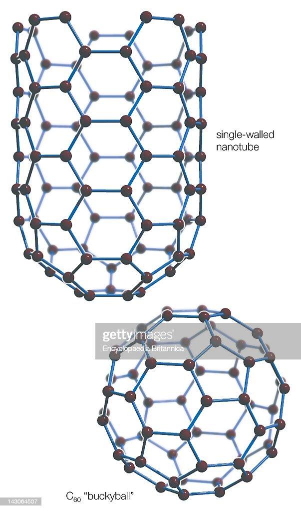 "An Elongated Carbon Nanotube And A Spherical Buckminsterfullerene Or ""Buckyball"""