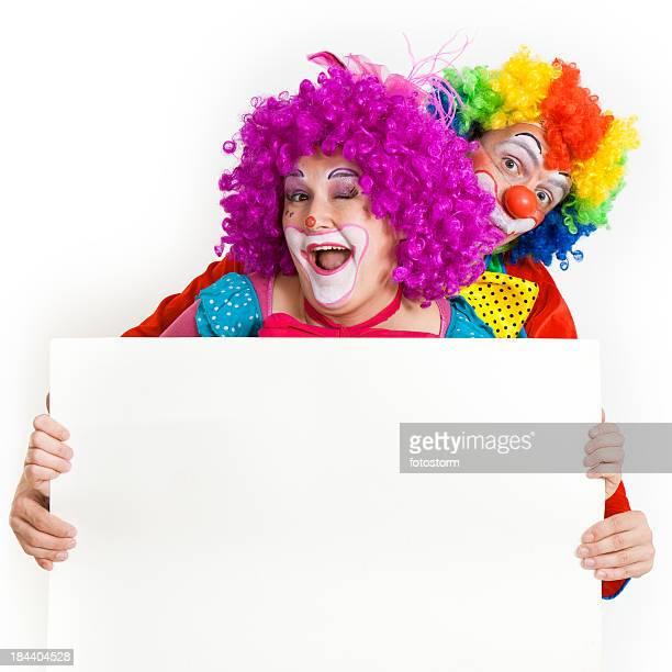 Dos divertidos payasos en blanco Banner