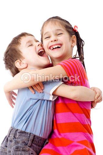 Zwei Lustige Kinder Stehen Zusammen Stock-Foto | Thinkstock