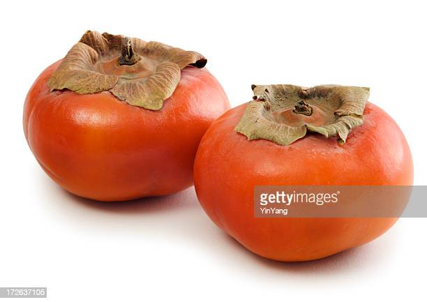 Two Fuyu Persimmons Isolated on White