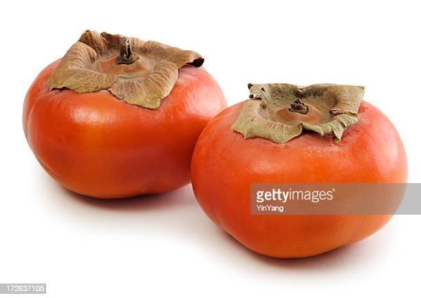富有柿 Persimmons 2 つの白で分離