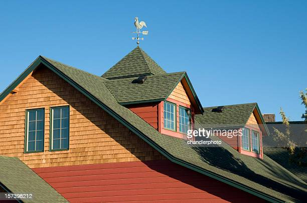 Two Gable Roof with Rooster Weather Vane