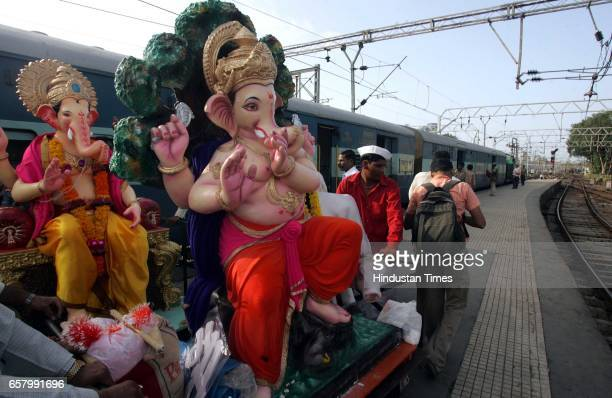 Two Ganesh Idols being taken in the Flying Indrani Train from Mumbai Central railway station on Sunday The idols were being taken as far as Surat and...