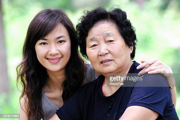 Femme asiatique de deux générations