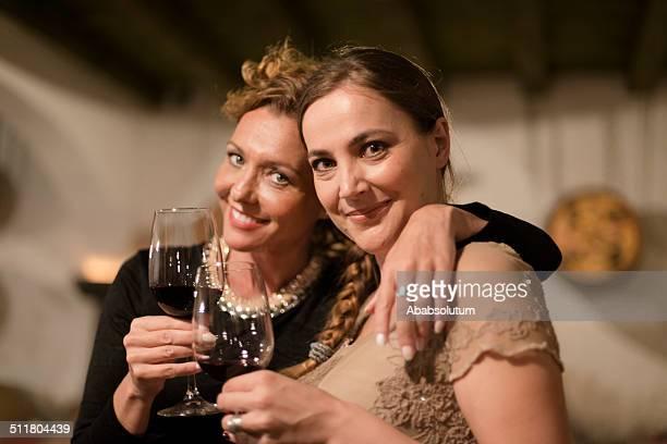 Two Generation Women in Old Wine Cellar, Europe