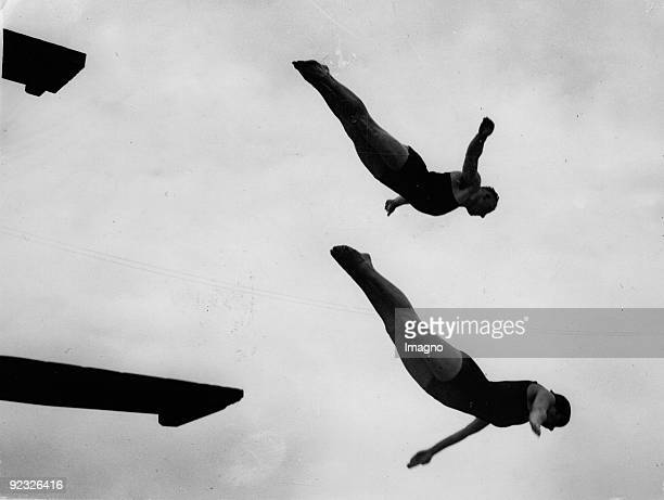 Two German diver Olga Jorda and Leo Esser during a training Highgate Baths England Photograph Around 1935