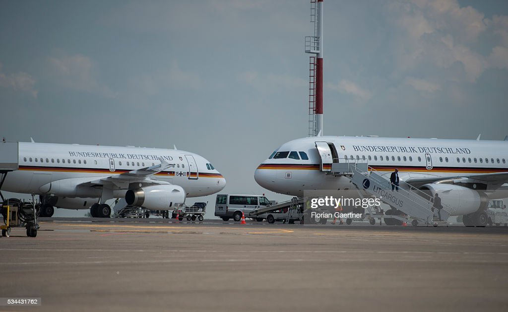 Two german government planes are placed at the airport on May 26, 2016 in Vilnius, Lithuania. Steinmeier travels to Lithuania, Latvia and Estonia for political conversations. One of the planes was defective.