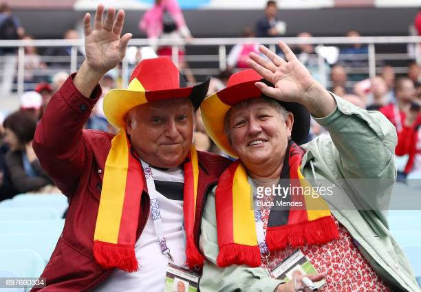 Two Germany fans nejoy the pre match atmosphere prior to the FIFA Confederations Cup Russia 2017 Group B match between Australia and Germany at Fisht...