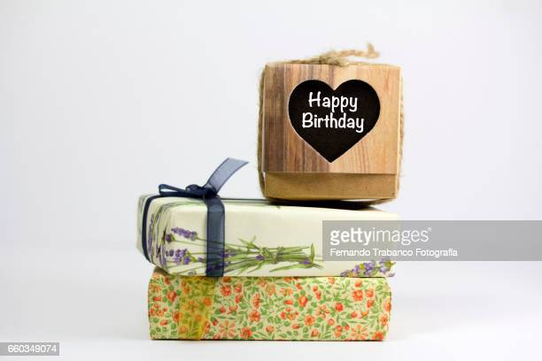 Two gift boxes and Heart with happy birthday