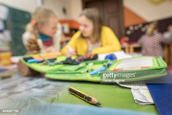 Two girls are learning together Feature at a school in Goerlitz on February 03 2017 in Goerlitz Germany