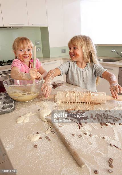 two girls cooking