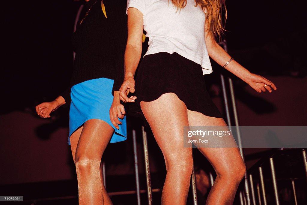 two girls dancing in disco : Stock Photo