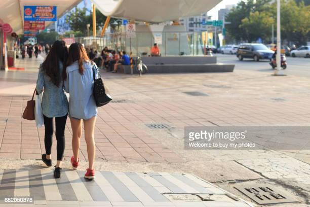 Two girls had street shooping at Kaohsiung City, Taiwan