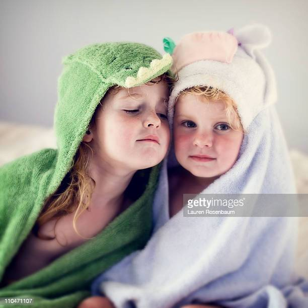 Two girls in animal towels