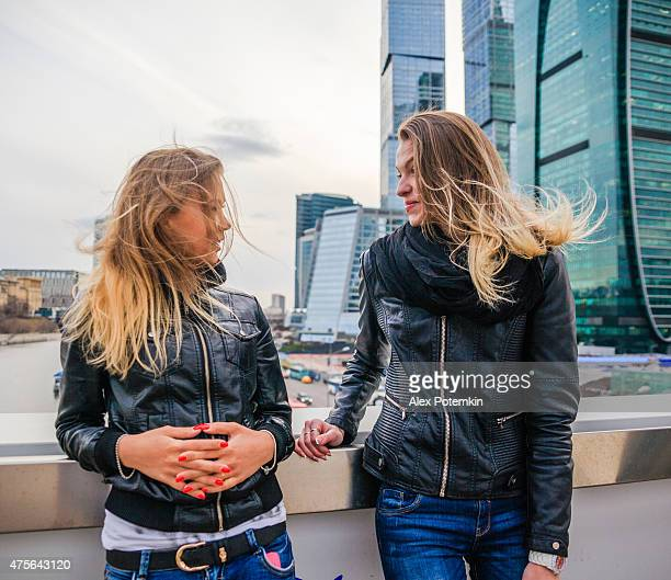 Two girls in front of the new Moscow's business center