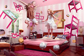 Two girls in the middle of a floating tea party