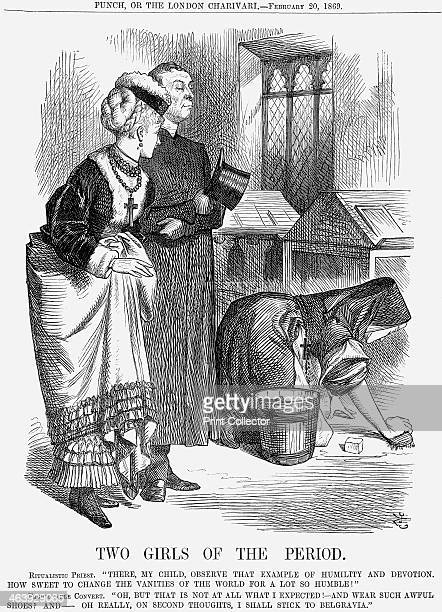 'Two Girls of The Period' 1869 This cartoon shows a fashionable protestant convert to Catholicism looking in horror at the Catholic nun This is a...
