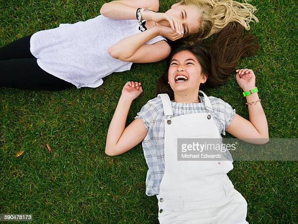 two girls on grass