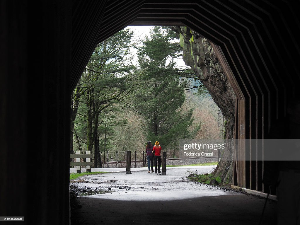 Two Girls Out of The Tunnel at Oneonta Gorge, Oregon
