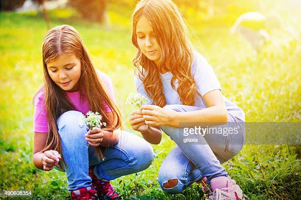 Two girls picking flowers in park.