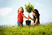 Two girls planting a tree