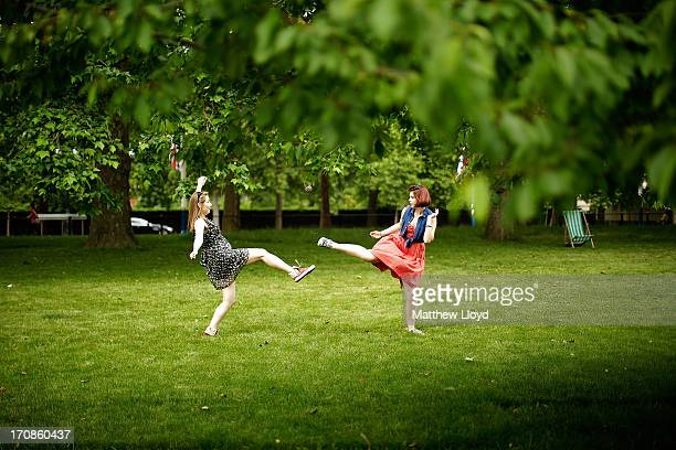 Two girls play a ball game in St James Park on June 19 2013 in London England Whilst the country is currently experiencing high temperatures there...