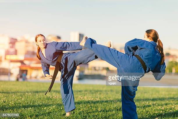 Two Girls  Practicing Aikido