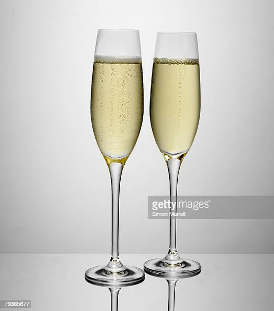 Two glasses of champagne indoors