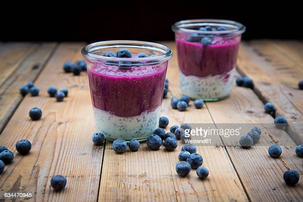 Two glasses of chia blueberry pudding