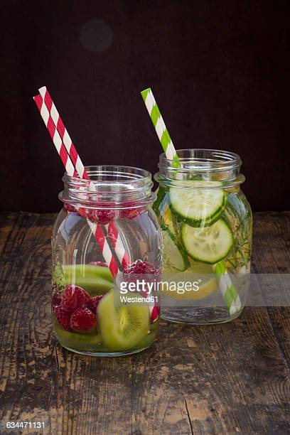 Two glasses of infused water with different tastes