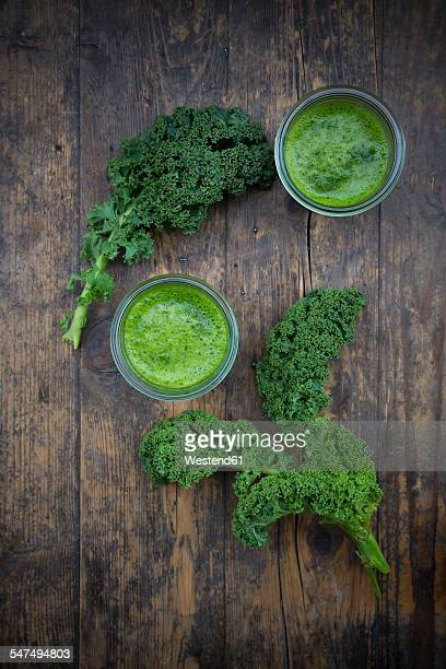 Two glasses of kale smoothie