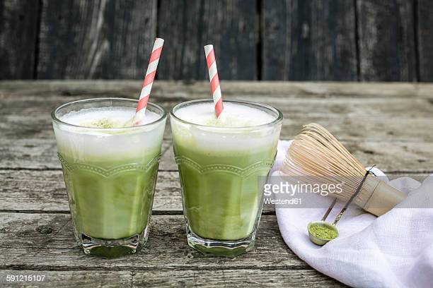 Two glasses of Matcha Latte