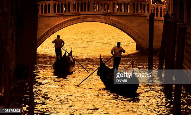 Two Gondoliers On Canals in Venice, Sepia Toned