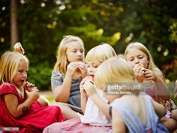 Two groups of sisters sitting on blanket outdoors