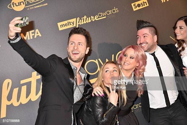 Two guests Jaclyn Spencer her husband Chris Marques and Priscilla Betti attend The Melty Future Awards 2016 at Le Grand Rex on February 16 2016 in...