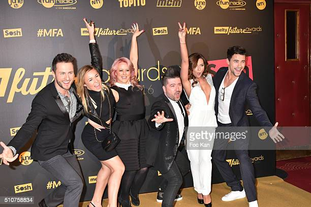 Two guests Jaclyn Spencer her husband Chris Marques Priscilla Betti and Christophe Licata attend The Melty Future Awards 2016 at Le Grand Rex on...