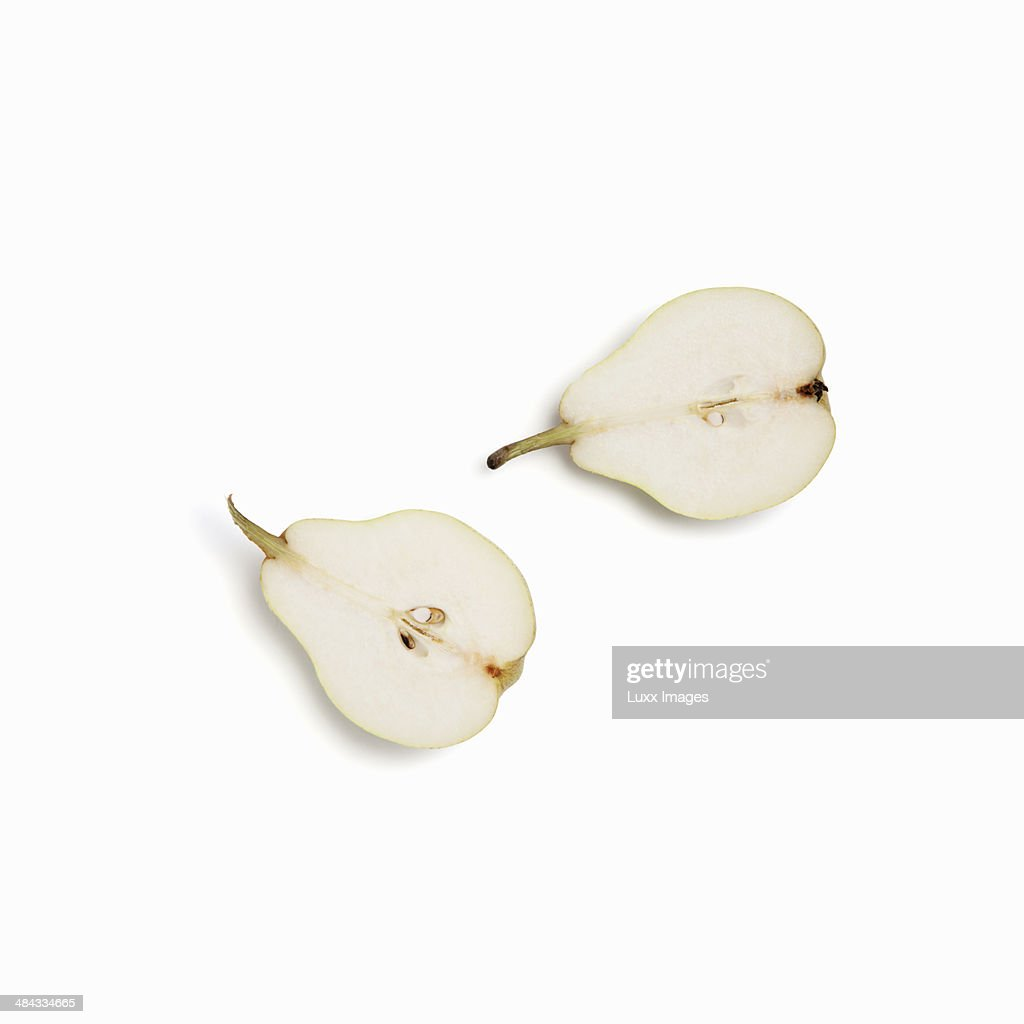 Two halves of a pear