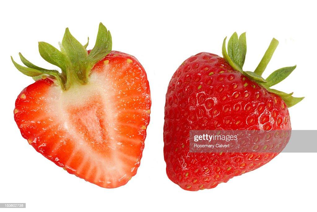 Two halves of fresh, ripe, strawberry.