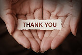 Thank you text on hand design concept