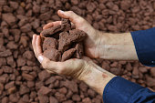 A person holding a handful of crushed iron ore close to the camera.