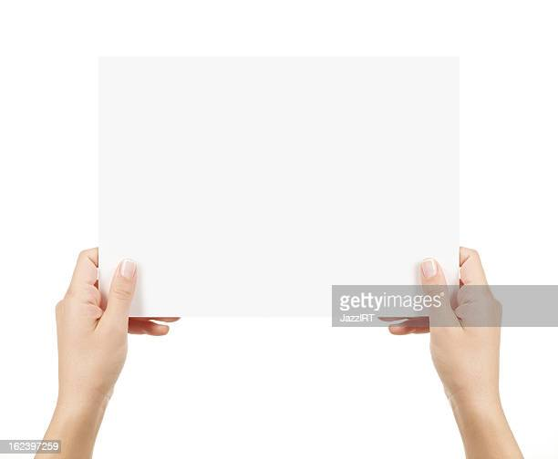 Two Hands Holding empty card isolated with clipping path white