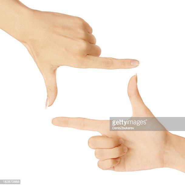 2 つの手の親指と人差し指拡張