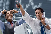 Two Happy Brokers at Stock Exchange