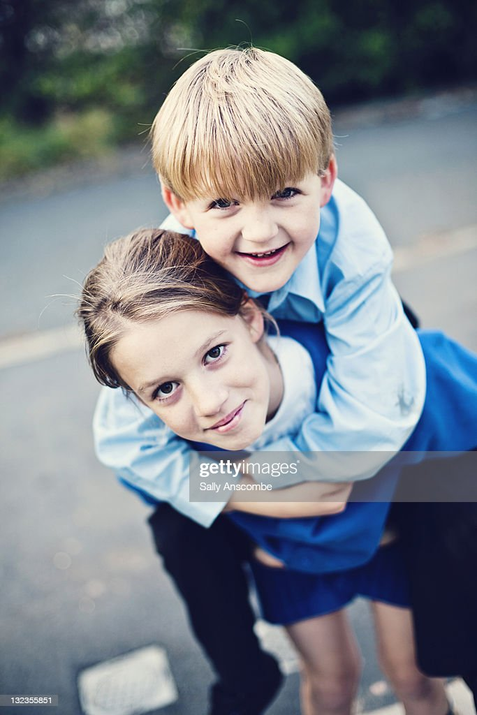 Two happy children playing together : Stock Photo
