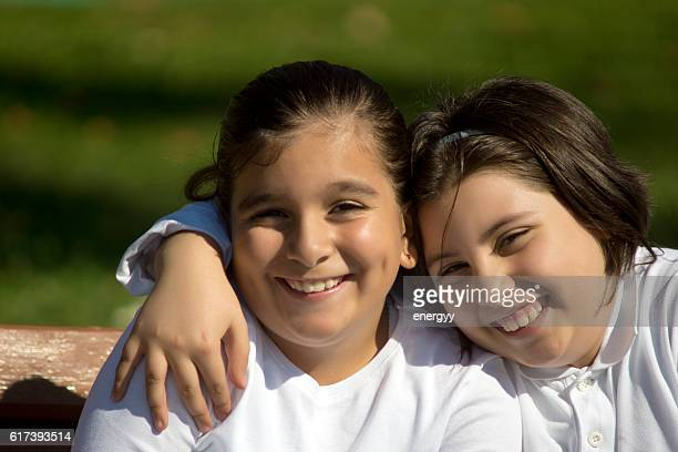 two happy kid girl
