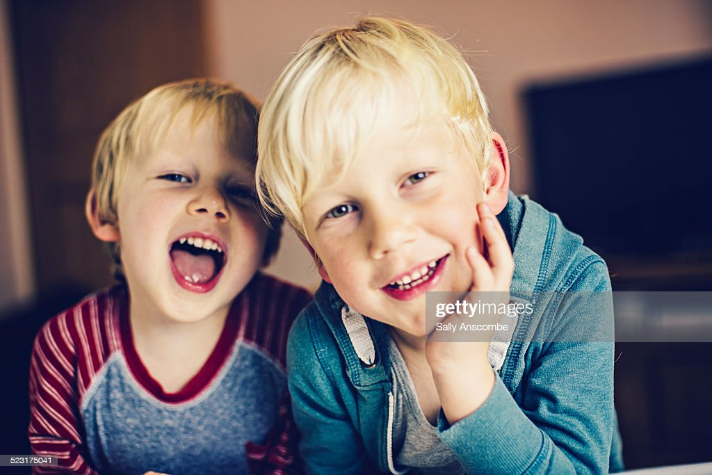 Two happy smiling little boys : Stock Photo
