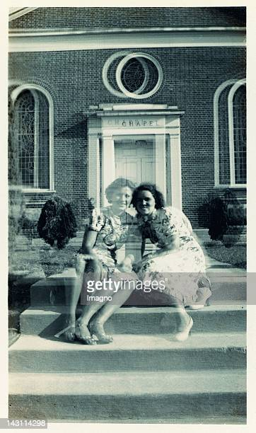 Two happy young girls In the back a chapel Double exposure Photograph USA 60ies