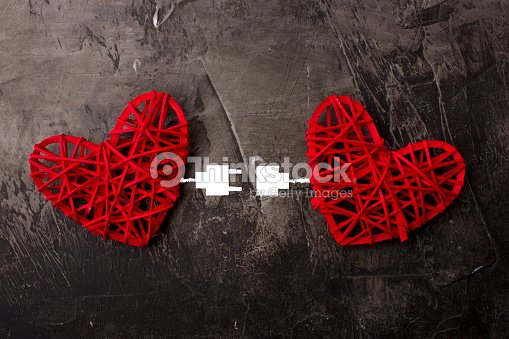 Two Hearts Connected By Usb Cable Theme Of Love Wedding Valentines